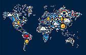 Weather icons set on map world shape