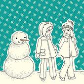 Winter backgound with snowman