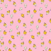 Easter chicken, hen and eggs seamless pattern