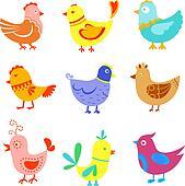 Fun doodle birds and cocks