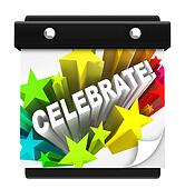 Celebrate Fireworks Word on Wall Calendar Vacation Holiday
