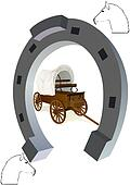 Horseshoe and a covered wagon