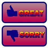 thumbs up and down great and sorry signs