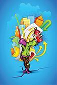 Cool Guy with Urban Grafitti