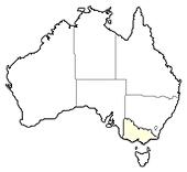 Map of Australia, Victoria highlighted