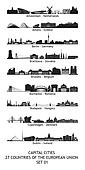 Set of 27 skylines of the capital cities of the european union
