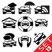 Car part icon set 13