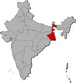 Map of India, West Bengal highlighted