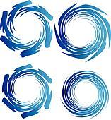 Earth water waves circle logo
