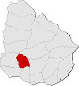 Map of Uruguay, Flores highlighted