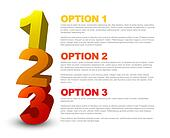 One two three - 3D vector progress icons