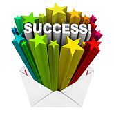 Success Word Stars Bursting from Envelope Winner Result