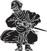 Ninja fighter - vector illustration. Vinyl-ready.