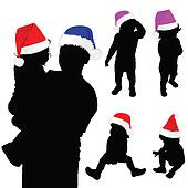 baby silhouette with christmas hat illustration