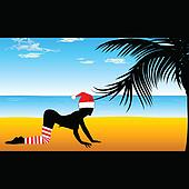 girl in red hat on the beach with palm tree
