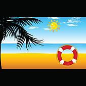 beach with red live saver vector