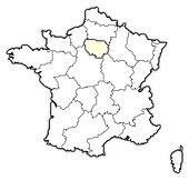 Map of France, Ile-de-France highlighted