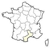 Map of France, Languedoc-Roussillon highlighted