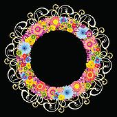 Colorful floral round frame on blac