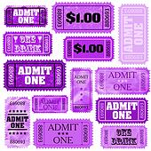 Violet set of ticket admit one. EPS 8