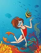 Kid swimming underwater