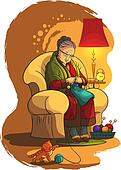 Grandmother knittin in armchair