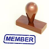 Member Rubber Stamp Shows Membership Registration And Subscribin