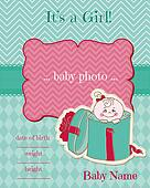 Announcement Baby Girl Card - with place for your photo and text - in vector