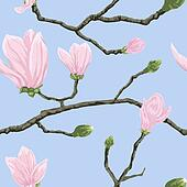 Seamless pattern with magnolia flowers