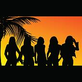 five girls silhouette