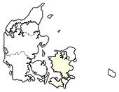 Map of Danmark, Zealand highlighted