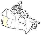Map of Canada, British Columbia highlighted