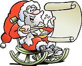 Santa Claus looks on his wish list