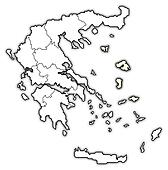 Map of Greece, North Aegean highlighted