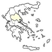 Map of Greece, Thessaly highlighted