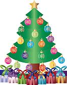 Christmas Tree with Presents and Ornaments Illustration