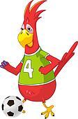 Funny Parrot. Soccer.