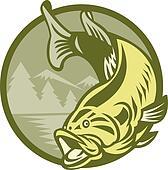 Largemouth Bass Fish Jumping Retro