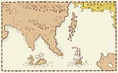 Vintage Map Treasure Island Tall Ship Whale