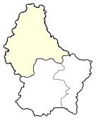 Map of Luxembourg, Diekirch highlighted