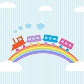 Colorful train on rainbow