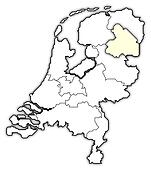 Map of Netherlands, Drenthe highlighted
