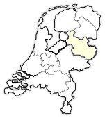 Map of Netherlands, Overijssel highlighted