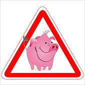 Warning sign with a funny Boar, Pig