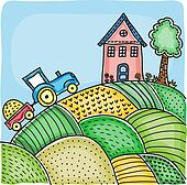 Illustration of agricultural fields, house on hill and tractor