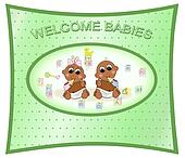 Welcome Twin Babies, Boy & Girl