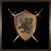 Golden shield and swords.