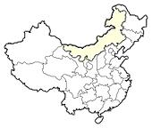 Map of China, Inner Mongolia highlighted