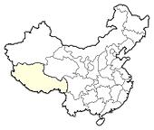 Map of China, Tibet highlighted