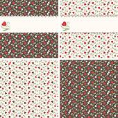 Romantic seamless patterns with hearts and roses